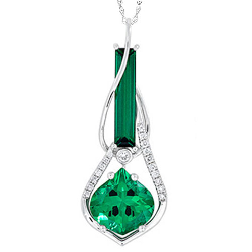 b8feee4b7 14K White Gold Chatham Created Emerald and Diamond Pendant, with 18″ Chain