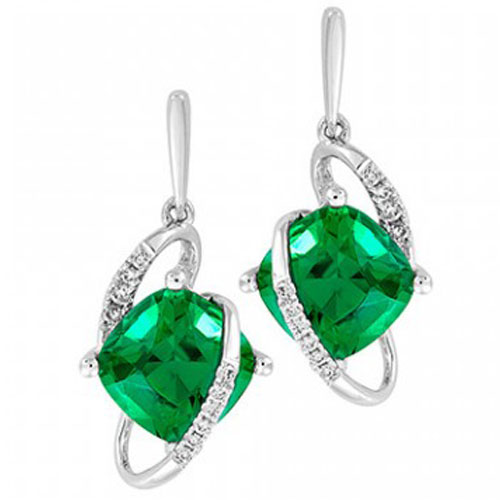 4b328face 14K White Gold Chatham Created Emerald and Diamond Earrings |  Pughsdiamonds.com