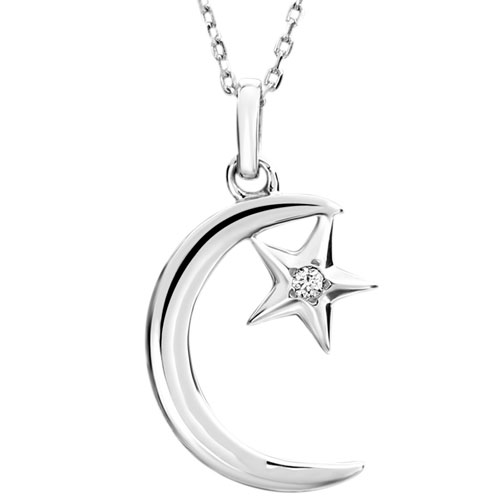 Sterling silver diamond moon pendant with 18 chain pughsdiamonds add aloadofball Image collections